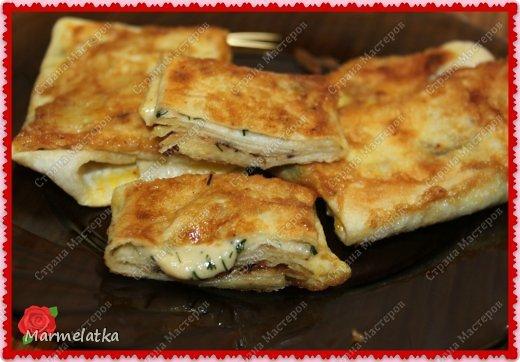 Вот такие конвертики с сыром я решила приготовить с утреца)) получилось вкусно, и как всегда очень быстро)) фото 1