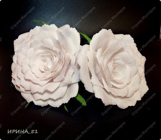 Белые Розы из фоамирана. фото 5