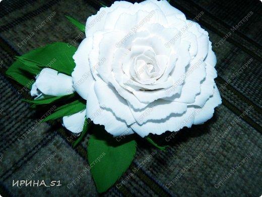 Белые Розы из фоамирана. фото 7