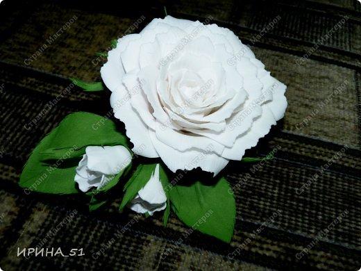Белые Розы из фоамирана. фото 6