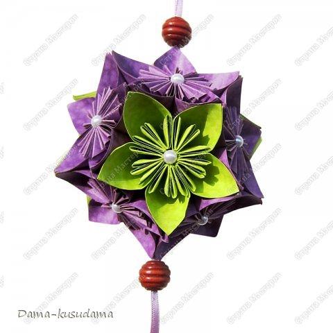 Кусудама фиолетово-зеленая. фото 1