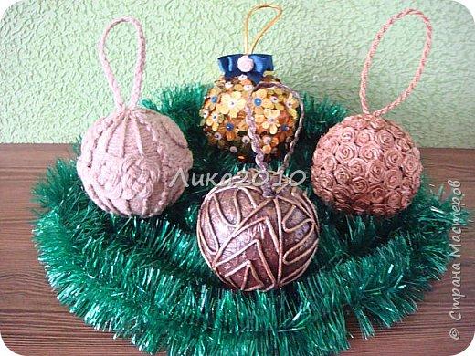 Вот такие шарики дополнили мои ёлочные украшения в этом году.