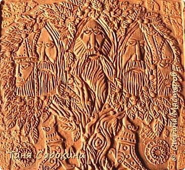 """Ну вот, слепилось у меня ещё одно настенное панно в кельтском стиле. Это оберег друидов или """"Дерево друидов"""". Рисунок не мой, нашла в каких-то раскрасках, немного его доработала, добавила в солнце символ бесконечной жизни и ещё разные мелочи. Лепила под резьбу по дереву. фото 2"""
