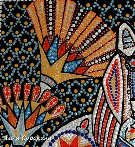 Вновь захотелось порисовать точками...вспомнила одну из своих любимых тем, основной рисунок кошки нашла в инете, но он был просто в чертеже...переделала его под себя, цветовая гамма тоже моя. Пёстренько, но в цветах древнего Египта. Богиня-кошка Баст. фото 4