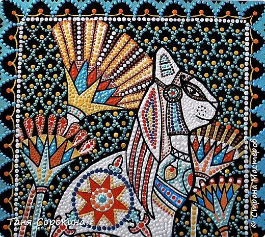 Вновь захотелось порисовать точками...вспомнила одну из своих любимых тем, основной рисунок кошки нашла в инете, но он был просто в чертеже...переделала его под себя, цветовая гамма тоже моя. Пёстренько, но в цветах древнего Египта. Богиня-кошка Баст. фото 6