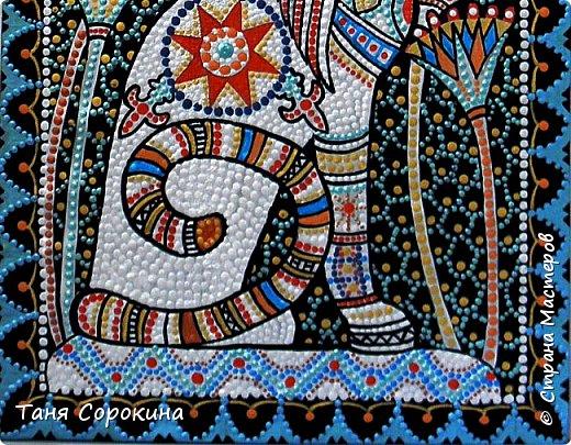 Вновь захотелось порисовать точками...вспомнила одну из своих любимых тем, основной рисунок кошки нашла в инете, но он был просто в чертеже...переделала его под себя, цветовая гамма тоже моя. Пёстренько, но в цветах древнего Египта. Богиня-кошка Баст. фото 7