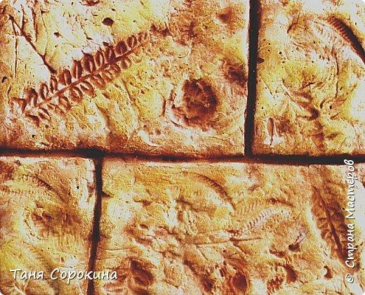 Продолжая тему гипсового камня, хочу предложить ещё его разновидность. На самом деле это древняя грязь, глина, в которую падали листья папоротника и других растений той эпохи. Грязь застыла и за множество веков превратилась в камень. Это может быть сланец, песчаник или бут, до сих пор в этих камнях находят отпечатки древних растений и насекомых. Я попробовала гипсовой шпаклёвкой имитировать бут, он бывает разных оттенков: от серого холодного до ярко жёлтого и красного. Холодные оттенки в камне мне не очень нравятся в интерьере дома, потому у меня камень в тёплых оттенках. фото 10