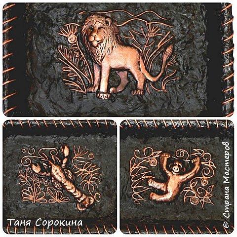 """Очередное изделие из моей книги. Сегодня это настенное панно в имитации кожи и металла """"Мир животных"""". Всё бумага, кроме самих животных, они из холодного фарфора. Вдохновение для конкурса http://stranamasterov.ru/node/1048330  фото 1"""