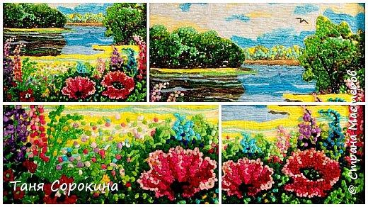 """И снова я продолжаю тему подсказок для участников конкурса """"Воспоминания о лете"""" http://stranamasterov.ru/node/1048330 . Сегодня у меня цветной пейп-арт, в котором соединены несколько способов исполнения. Небо, река и песчаный берег сделаны способом ГОФРЕ, стволы и ветви деревьев и цветов - НИТЯМИ, а цветы и кроны деревьев - ЗЕРНОМ. Лето красное рисую, Яркий тёплый летний день. Легкий ветерок подует, Заиграют свет и тень. На картине речка, лето, Утро, солнышко взошло. Из салфеток всех расцветок Поле маков расцвело. фото 3"""