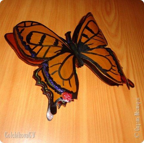 """Доброго времени суток всем.  Насмотрелась я на бабочек в Стране и решила создать свои. Где-то я видела покупные объемные бабочки, подумала, почему бы не создать их самой из пластиковых бутылок.   Своими """"наблюдениями"""" решила поделиться с Вами.   Конечно, лучше использовать прозрачные бутылки, но, к сожалению, какие были. фото 2"""
