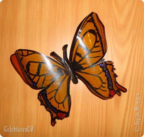 """Доброго времени суток всем.  Насмотрелась я на бабочек в Стране и решила создать свои. Где-то я видела покупные объемные бабочки, подумала, почему бы не создать их самой из пластиковых бутылок.   Своими """"наблюдениями"""" решила поделиться с Вами.   Конечно, лучше использовать прозрачные бутылки, но, к сожалению, какие были. фото 1"""