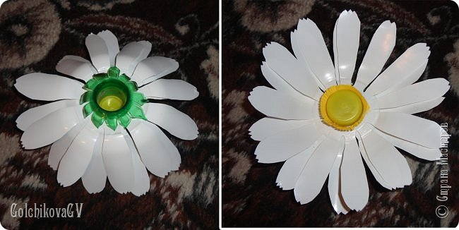 Добрый вечер, дорогие соседи!!!  Решила я выставить свои цветы из пластиковых бутылок и баночек.  Никак не могла закончить, т.к не хватало зеленых бутылок, но помогли друзья. Результат решила вам показать. фото 8