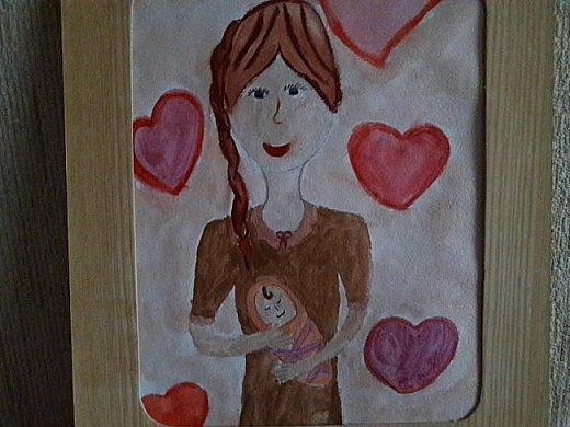 На моё предложение об участии в конкурсе откликнулась Настя. Через несколько дней картина была готова. Вот мамочка нежно прижимает младенца к себе, а малышке от этого тепло и уютно. Малышка-это Настя.Так Настя видит мамину любовь.  фото 6