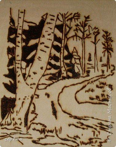 Выжигание по дереву: Весений лес фото 1