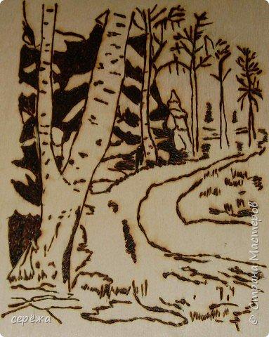 Выжигание по дереву: Весений лес фото 2