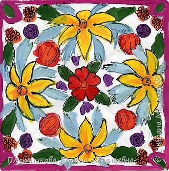 Роспись: Цветы на платке