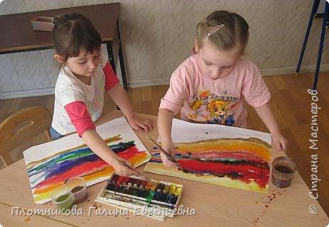 Рисование и живопись: Небо и солнышко