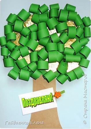 Аппликация: Открытки со сладким денежным деревом фото 1