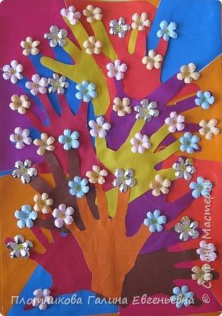 Аппликация из«ладошек»: Весеннее дерево