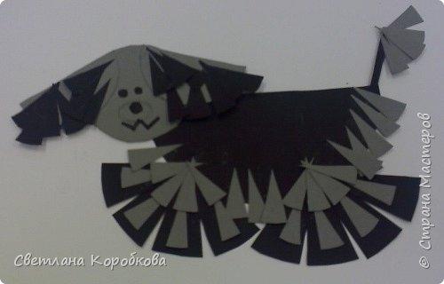 Аппликация: лохматая собака