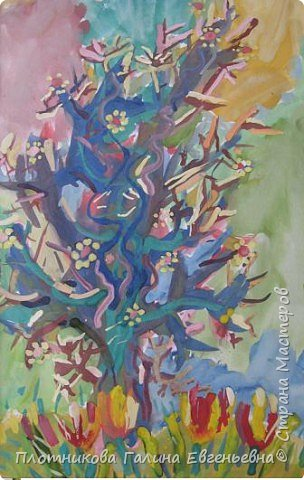 Рисование и живопись: весна и старая яблоня