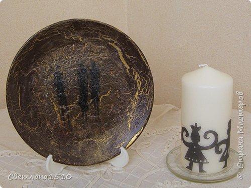 Декупаж: Ещё тарелочки и свечи фото 6