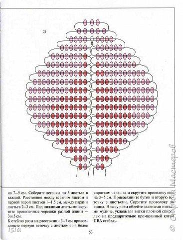 Бисероплетение: Схемка розочки фото 3