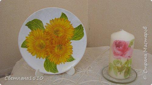 Декупаж: Ещё тарелочки и свечи фото 4