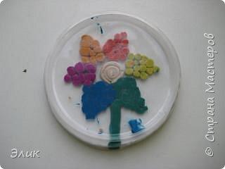 Аппликация из пластилина (+ обратная): Цветы фото 1