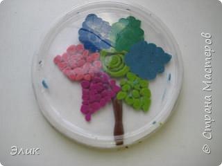Аппликация из пластилина (+ обратная): Цветы фото 2