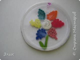 Аппликация из пластилина (+ обратная): Цветы фото 3