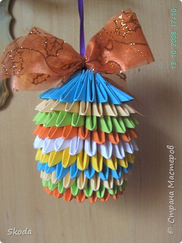 Оригами модульное: новогодний шарик