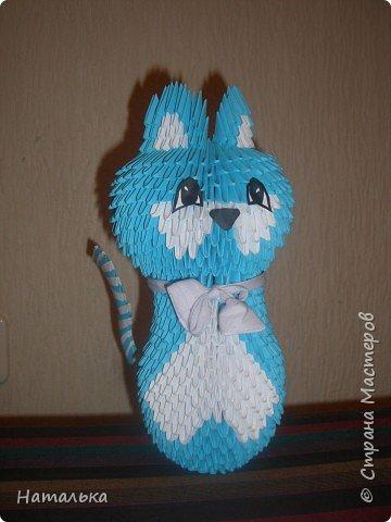 Оригами модульное: Синяя кошка фото 1
