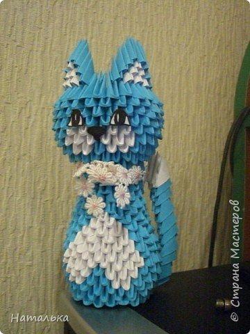 Оригами модульное: Синяя кошка фото 2