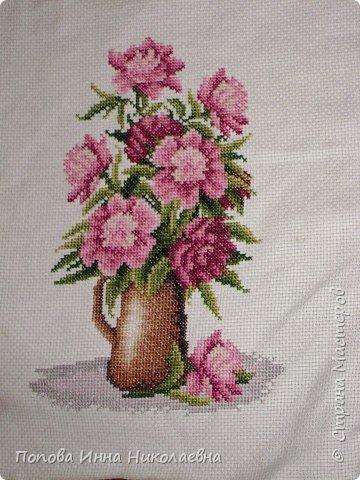 Вышивка крестом: Пионы в вазе