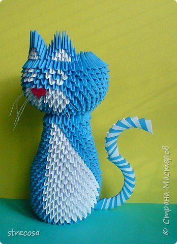 Оригами модульное: кошка,гуляющая сама по себе