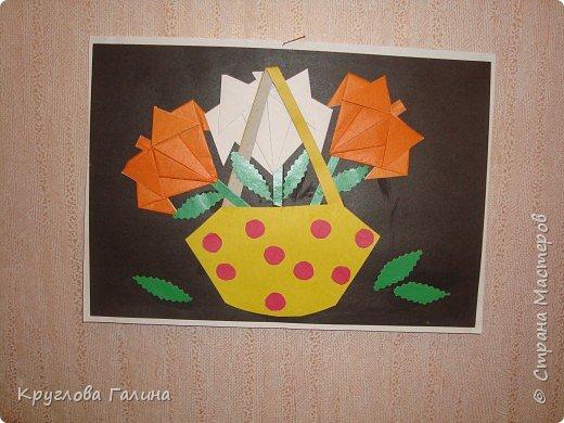 Оригами: Цветы в корзине