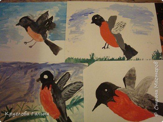 Рисование и живопись: Снегири прилетели