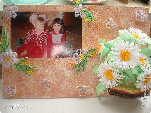 Квиллинг: рамка для фотографии ромашки фото 1