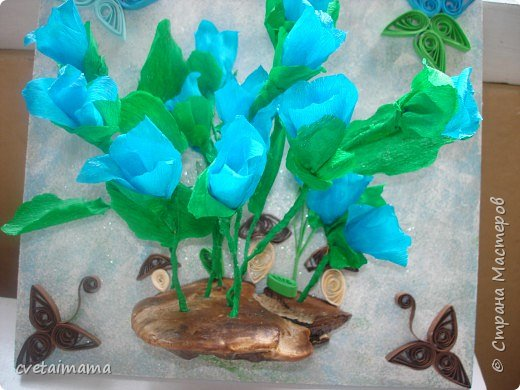 квиллинг и  цветы из гофрированной бумаги фото 2