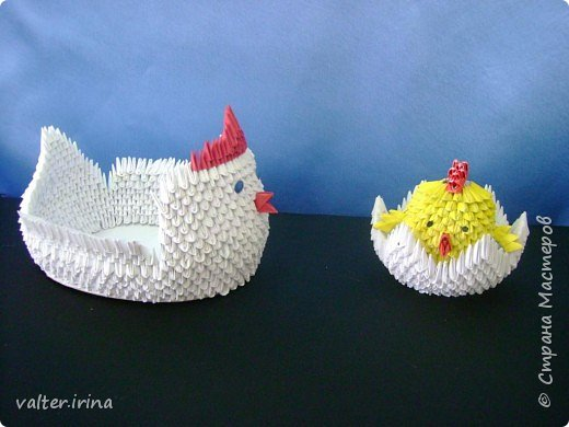 Оригами модульное: курочка с цыпленком