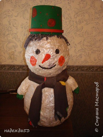 Папье-маше: снеговик