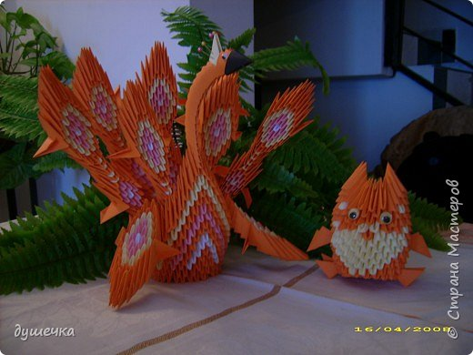 Оригами модульное: жар-птица с ребенком