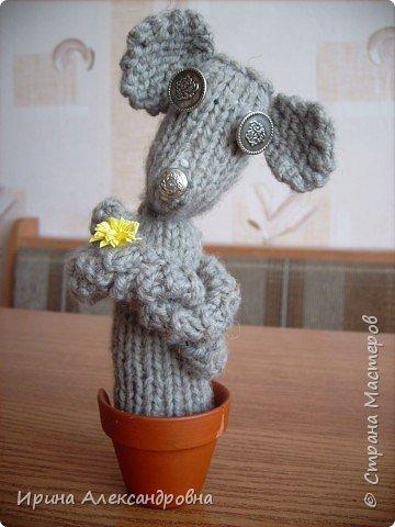 Вязание: Мыша в горшочке фото 1