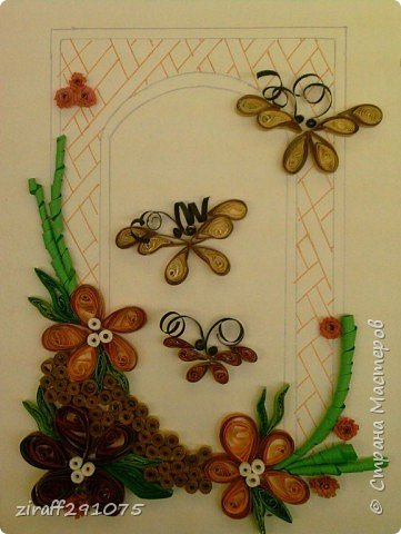 Квиллинг: Бабочки в арочке