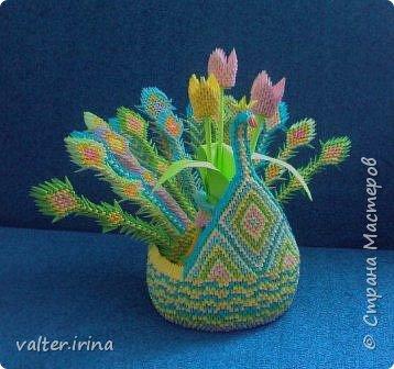 Оригами модульное: Павлин с вазой фото 1