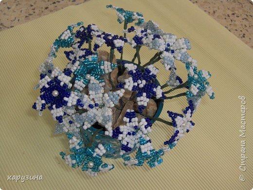 Бисероплетение: Букет в бело-голубой гамме фото 1