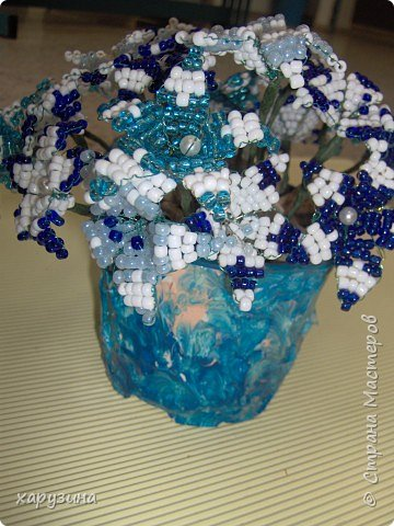 Бисероплетение: Букет в бело-голубой гамме фото 3