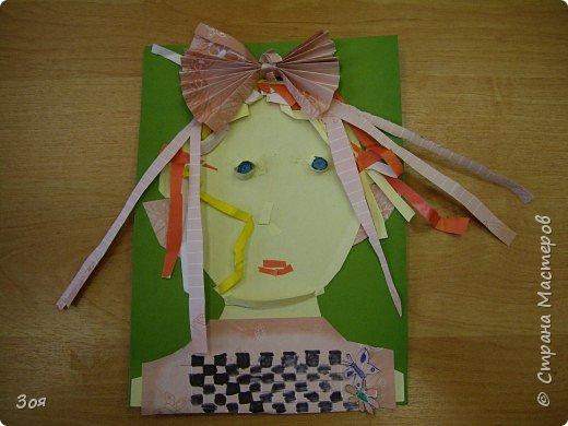 """Аппликация: """"Женский портрет"""" моделируем из бумаги... фото 6"""