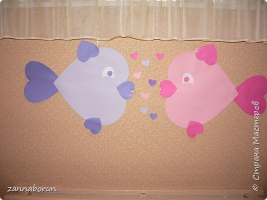 Аппликация: Рыбки-валентинки фото 1